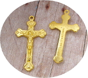 "Beautiful Crucifix Gold finish1 1/2"" Rosary Part Jerusalem"