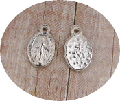 Miniature Miraculous medal Tiny Oval Silver .Inexpensive Tiny Miraculous medal- Great for watch, Bracelets, favors-Our Smallest Medal oval-Tiny Miraculous medal 1.0 x 0.7 Oval Antique Silver