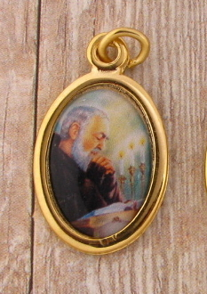 "Saint Padre Pio Medal Gold Plated Color Picture 7/8"" oval Italy"