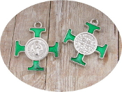 "Saint Benedict Cross Green Enamel Silver Plated 1""x1"" Italy Our Deluxe Catholic Saint Benedict are known for the most Beautiful intricate designs - Made in the Italy finished in Brilliant Epoxy Enamel"