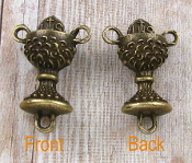 "3D Dazzling Bronze Finish Chalice Shaped Rosary Center 3/4"" Italy Wholesale rosary parts bulk prices"