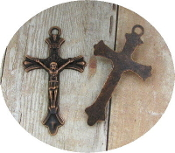 "Copper Finish Crucifix 1 1/2 x 1"" Rosary Parts or Necklace Jesus-Metal Catholic Crucifix Rosary parts-Crucifix Necklace-Rosary Crucifixes Pendant-Crucifix to make rosaries-Measurement does not include eyelet"