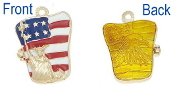 Statue of liberty, USA Flag, Bald Eagle Locket Enamel Colors