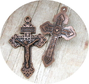 "25+ .98ea COPPER Finish Pardon Crucifix 2"" INDULGENCE CRUCIFIX Cross"