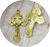 "as low as 98¢ ANTIQUE Gold Finish Catholic Pardon Crucifix cross 2"" INDULGENCE CRUCIFIX"