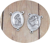 "St Francis and St Anthony Rosary Centerpieces 3/4"" Silver Oxidized-These rosary center pieces are recognized for their traditional Catholic rendering. A beautiful Center to make rosaries. Made in Italy"