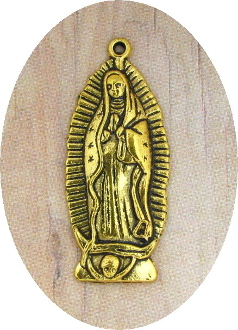 "Our Lady of Guadalupe Medal Antique Gold Finish 1 1/4"" Oval shape"