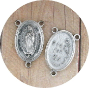 Lady of Guadalupe Silver Oxidized Rosary Centerpieces 1""