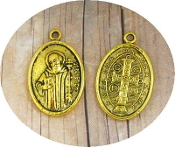 "10/Pc Saint Benedict Jubilee Medal Antique Gold Finish oval 1"" Italy"