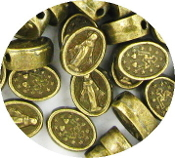 Tiny Miraculous Medal Beads Metal Bronze Finish Buy rosary making parts in bulk