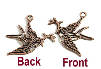 3D Dove of Peace Pendant Copper Finish 3.0x3.1cm-Inexpensive Bracelet Charm Silver Catholic medals Bracelet medals Parts Bracelet parts-Measurement does not include eyelet