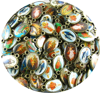 Clear Epoxy Color Picture Double Sided Rosary Center H-3/4""