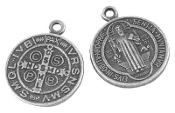 "Small St Benedict Jubilee Antique Silver Finish Medal 5/8"" ROUND"