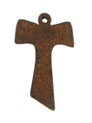 "Franciscan Tau Cross Wood Brown Stain 1 1/4"" x 7/8"" make your own pendant. It is also known as St. Anthony's Cross, Old Testament Cross, Anticipatory Cross,etc"