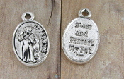 "ANTIQUE SILVER St Francis Pet medal 1"" BLESS AND PROTECT MY PET"