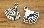 3D Tiny Antique Silver Finish Shell Charm 1.5x1.9cm