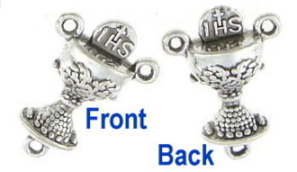 "1st Communion Chalice Rosary Center Antique Silver Finish 3/4"" Communion Rosary CenterPieces wholesale"