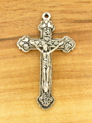 Beautiful Antique Silver Finish Crucifix 3.7 x 2.4cm Pendant Rosary Parts