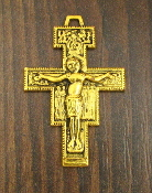 "Catholic religious San Damiano Crucifix Cross 1 3/8"" Antique Gold Finish Metal"
