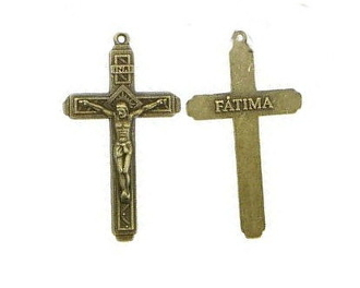 "Our Lady of Fatima Crucifix Cross 1 7/8 x 1 1/8"" Bronze Finish"