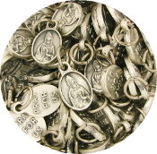 "silver Tiny Oval Saint Lucy medal Bracelet charm 1/2"" Italy"