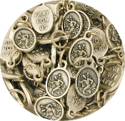 "50/Pkg Tiny Oval Saint Christopher medal charm 1/2"" Italy"