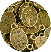 "75¢ 1"" St Francis Pet medal BRONZE BLESS AND PROTECT MY PET"