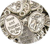 "St Francis Pet BLESS & PROTECT MY PET Bright Silver finish 1"" Saint Francis of Assisi Patron saint of animals wholesale bulk prices"