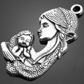 Madonna and Child Antique Silver Finish Medal 1 1 /4""