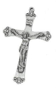 "Flower Tip Antique Silver Crucifix 1 3/4""x1 1/8"" Rosary Parts"