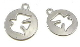 Tiny 1.5cm Holy Spirit Bracelet Charm Round Silver Cut-Out