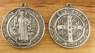 LARGE St Benedict Jubilee Antique Silver Finish Medal 1 3/4""