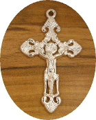"Silver finish Crucifix 1 7/8"" x 1 1/4"" Rosary Parts or Necklace As Low As $0.75 Each wholesale Catholic crucifixes"
