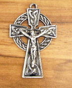 "Our Deluxe Rosary Crucifixes are known for the most beautiful intricate designs Irish Celtic Crucifix Cross Antique Silver Finish 1 1/2"" x 1"""