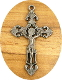 "Fleur-de-lis Cross Metallic Silver Finish Gun metal Crucifix 1 7/8"" x 1 1/4"" Rosary Parts or Necklace wholesale Catholic crucifixes"