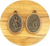 "25/Pc Saint Michael St Michael/Guardian Angel Medal COPPER finish oval 1"" Italy"