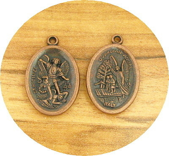 "Saint Michael St Michael/Guardian Angel Medal COPPER finish oval 1"" Italy"