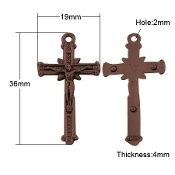"Copper Finish Crucifix Cross 1 1/4 x 3/4"" Rosary Parts-Inexpensive Small Crucifix Finish Copper Crucifix-Rosary parts and Necklace-Rosary Crucifixes --Wholesale Rosary Parts Crucifixes to make rosaries"