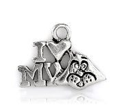 30/Pkg Love my Dog Charm Antique Silver finish W-1.7cm