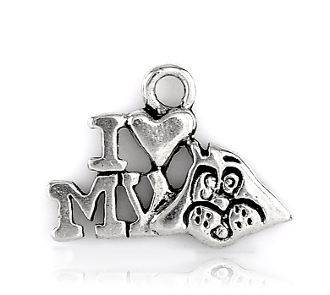 Love my Dog Charm Antique Silver finish W-1.7cm