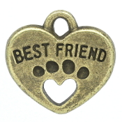"30/Pkg Pet ""Best Friend"" Paw Charm Bronze Finish 1.2x1.5cm"