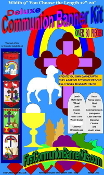 "30 Background Colors to choose-All in One First Holy Communion Banner Kit-You Choose the Length 12""-20"". contains 80 Pieces Felt Shapes. No cutting or sewing required. Wooden dowel with Fancy end Caps and Religious Symbols-Church pew or hang"