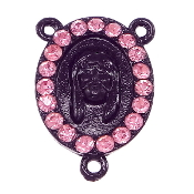 Limited Stock Holy Face of Jesus with 19 Pink Crystal's Black Finish Rosary Rosary Center with Rhinestones Rosary Parts wholesale