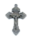 "98¢ Metallic Silver Gunmetal Finish Pardon Crucifix 2"" INDULGENCE CRUCIFIX Catholic Cross"