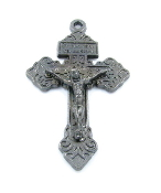 "10+ 98¢ea Metallic Silver Gunmetal Finish Pardon Crucifix 2"" INDULGENCE CRUCIFIX Catholic Cross"