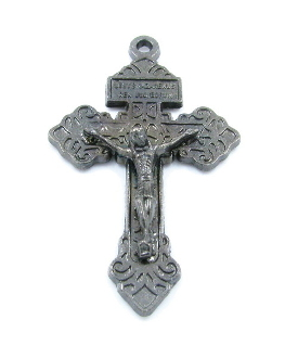 "25+ 98¢ea Metallic Silver Gunmetal Finish Pardon Crucifix 2"" INDULGENCE CRUCIFIX Catholic Cross"