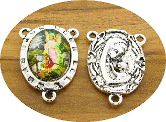 Guardian Angel Color Centerpiece Rosary Parts 2.4x1.8cm-Antique Silver finish Madonna and Child with Full Color Picture Glass Dome. Inexpensive Rosary Centers to make rosaries-Center Rosary parts. parts of a rosary rosary supplies rosary centerpieces