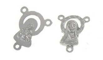 Silver Mary/Madonna Rosary Center Parts 1.5cm
