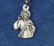 TINY Divine Mercy Charm Silver Oxidized Saint medals 3/4""