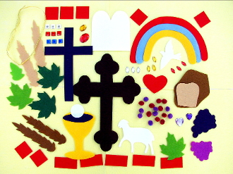 CUT-OUTS FELT PIECES ONLY for making First Communion Banners-Lamb,Holy Spirit,Chalice,Wheat,leafs,crosses Fancy and Traditional styles,Heart,Host,Ten Commandments,pom-poms (grapes), loaf of bread, rainbow and much more